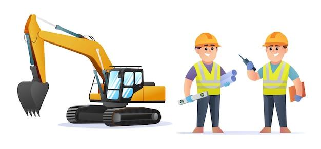 Simpatici personaggi di ingegnere edile con illustrazione di escavatore
