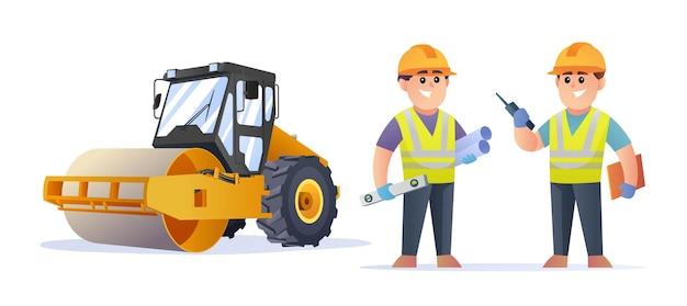 Simpatici personaggi di ingegnere edile con illustrazione di compattatore rullo compressore