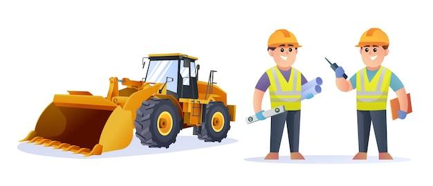 Simpatici personaggi di ingegnere edile con illustrazione di pala gommata