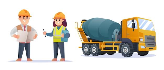 Simpatici personaggi del caposquadra edile e dell'ingegnere femminile con l'illustrazione del camion della betoniera