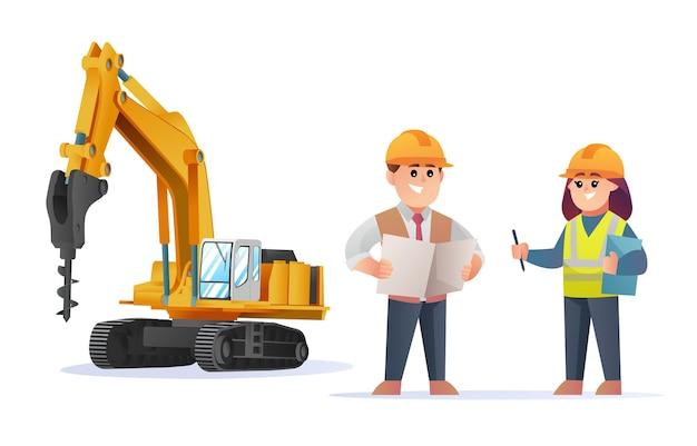 Simpatici personaggi di caposquadra ed ingegnere femminile con illustrazione di escavatore a trapano