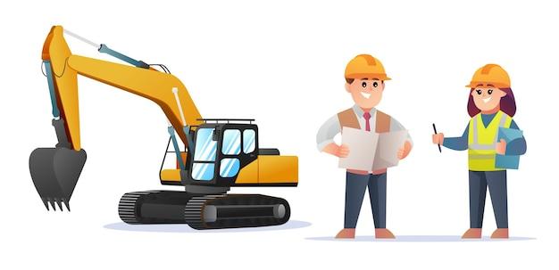 Simpatici personaggi del caposquadra edile e ingegnere femminile con illustrazione dell'escavatore