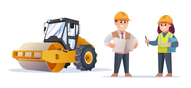 Simpatici personaggi del caposquadra edile e dell'ingegnere femminile con l'illustrazione del compattatore del rullo compressore
