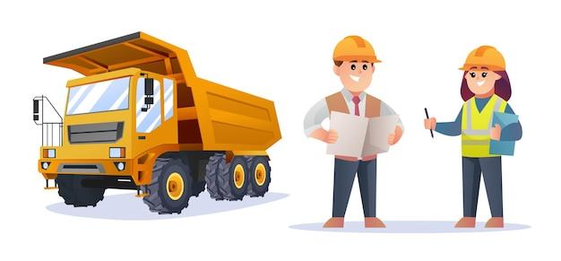 Simpatici personaggi di caposquadra edile e ingegnere femminile con illustrazione di camion