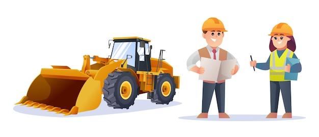 Simpatici personaggi del caposquadra edile e dell'ingegnere femminile con l'illustrazione della pala gommata