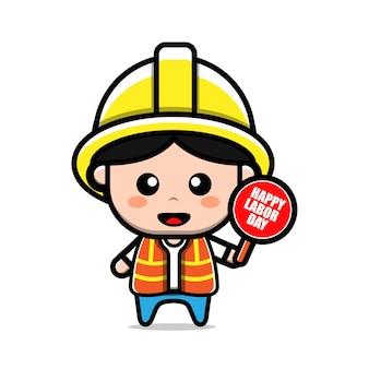 Illustrazione di concetto di festa del lavoro di carattere carino operaio edile