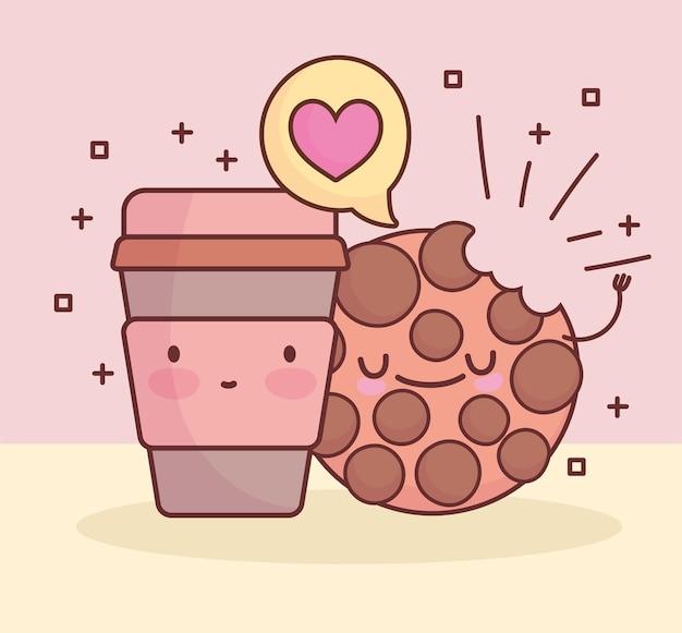 Fumetto sveglio della tazza di caffè del biscotto