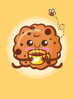 Biscotti carini che tengono una tazza di caffè. cartone animato