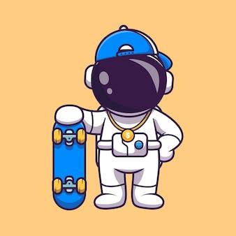 Simpatico astronauta fresco con illustrazione di skateboard