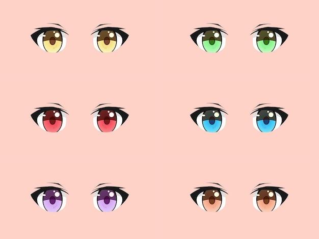 Set di occhi manga anime kawaii carino e alla moda