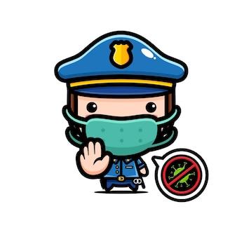 Simpatico poliziotto che indossa una maschera con stop virus posa Vettore Premium