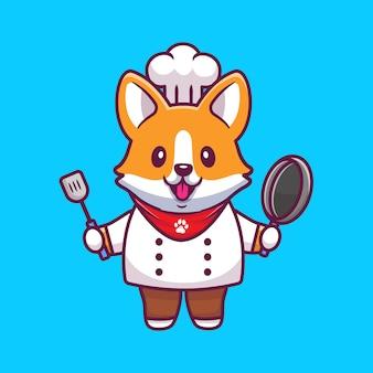 Chef corgi carino con padella e spatola. icona del fumetto illustrazione. premio isolato concetto di icona animale di professione. stile cartone animato piatto
