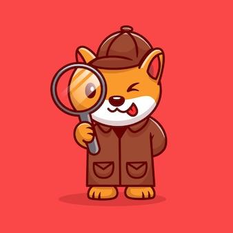 Detective carino cane corgi con lente d'ingrandimento