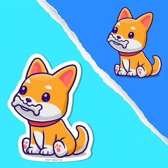 Cane sveglio del corgi che mangia fumetto dell'osso, disegno del personaggio adesivo.