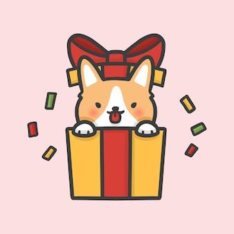 Cane sveglio del corgi nel natale di sorpresa del contenitore di regalo disegnato a mano