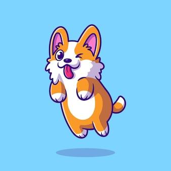 Cane carino corgi che salta. stile cartone animato piatto