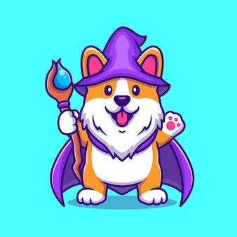 Simpatico mago cane corgi con bacchetta magica icona del fumetto illustrazione.