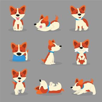Set di illustrazioni a colori di cani corgi carino, cucciolo di razza giocoso in adesivi del fumetto di pose diverse, set di toppe, animale domestico felice in clipart collare, animale domestico mangiare, dormire, giocare