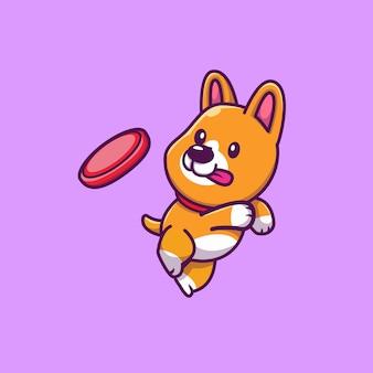 Corgi sveglio che gioca l'illustrazione dell'icona del fumetto di frisbee. icona animale concetto isolato. stile cartone animato piatto