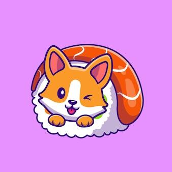 Carino corgi in sushi roll cartoon icon illustration.