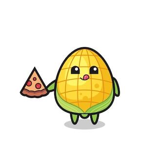 Simpatico cartone animato di mais che mangia pizza, design in stile carino per maglietta, adesivo, elemento logo