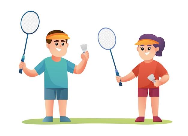 Simpatico personaggio di giocatore di badminton di coppia
