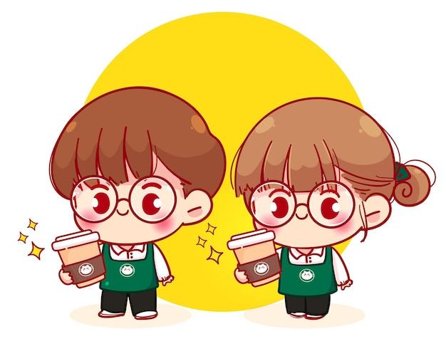 Coppia carina barista in grembiule che tiene un'illustrazione del personaggio dei cartoni animati della tazza di carta del caffè