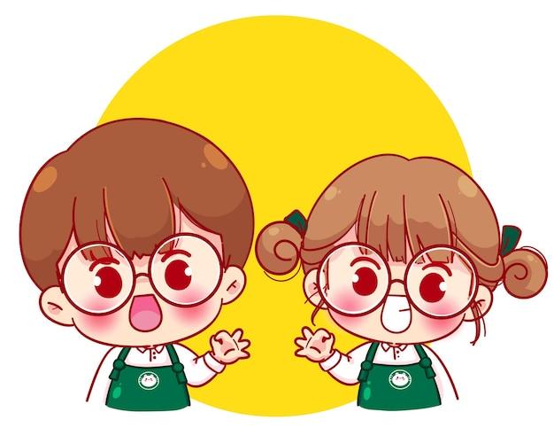 Le coppie sveglie barista in grembiule mostrano il segno giusto con l'illustrazione del personaggio dei cartoni animati delle mani