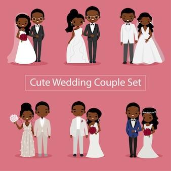 Illustrazione sveglia della sposa e dello sposo delle coppie