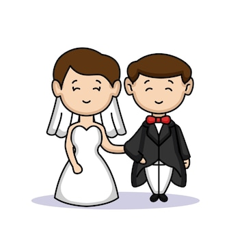 Un simpatico coppia di sposi appena sposati