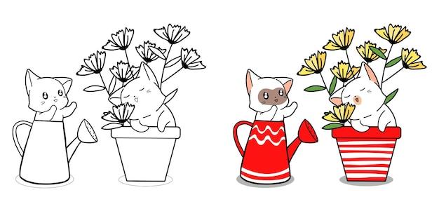 Pagina da colorare di carino coppia gatto fumetto
