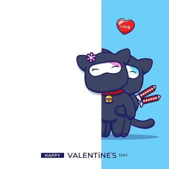 Ninja di gatto coppia carina con saluto di san valentino felice