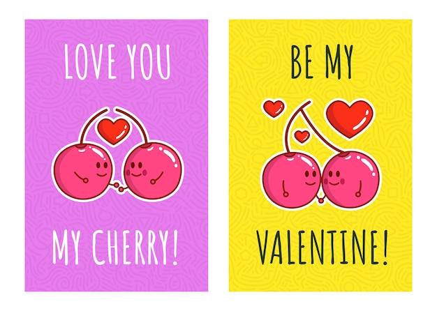 Cartone animato carino coppia ciliegia con citazione amo la mia ciliegia e sii il mio san valentino. per san valentino. biglietti di auguri per san valentino.