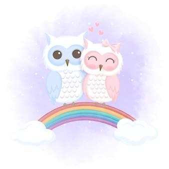 Gufo carino coppia su arcobaleno