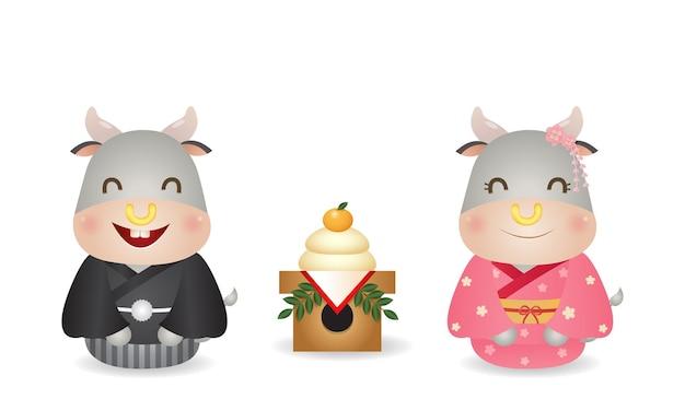 Coppia carina bue in costume kimono giapponese festeggia il nuovo anno con kagamimochi. vettore di celebrazione del nuovo anno del giappone isolato nel bianco.