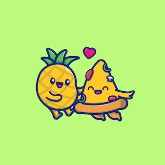 Illustrazione sveglia dell'icona del fumetto dell'ananas e della pizza delle coppie. concetto dell'icona dell'alimento isolato. stile cartone animato piatto