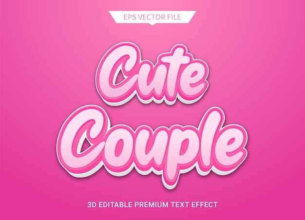 Carino coppia rosa 3d modificabile effetto stile testo premium vector
