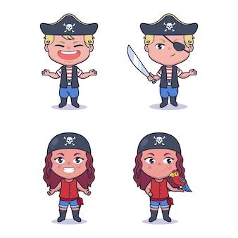 Disegno dell'illustrazione dei pirati delle coppie carine