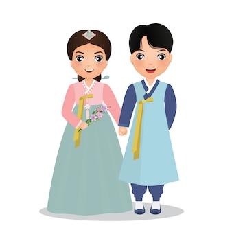 Le coppie sveglie nel hanbok tradizionale vestono il personaggio dei cartoni animati della corea del sud. illustrazione.
