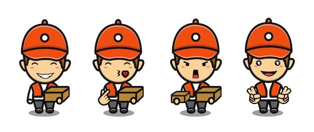 Set simpatico cartone animato mascotte ragazzo corriere