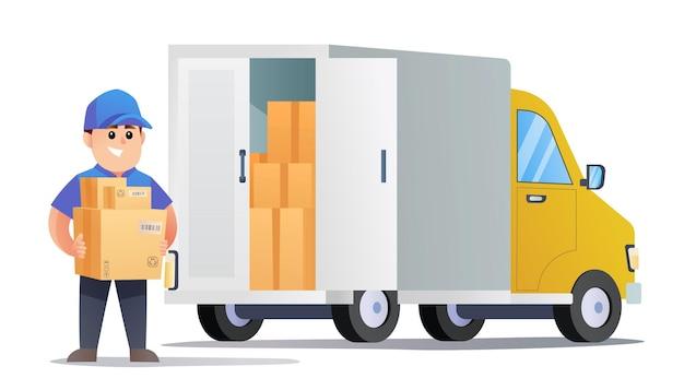 Un simpatico corriere porta pacchi con l'illustrazione del camion di consegna