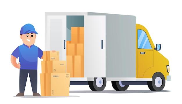 Simpatici pacchi di consegna con corriere con furgone cartoon