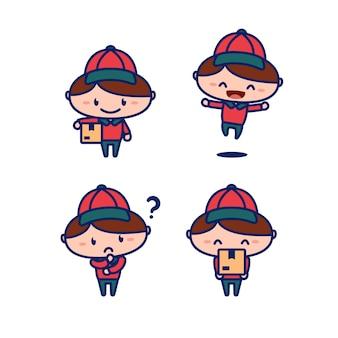 Il postino sveglio di consegna del corriere porta lo stile dei bambini dell'illustrazione di vettore della mascotte del personaggio dei cartoni animati del pacchetto