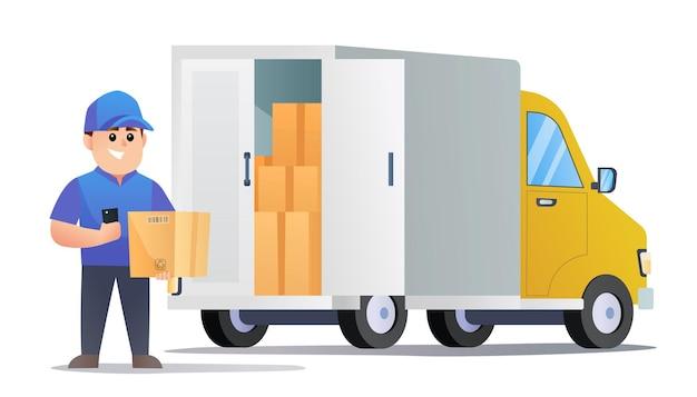 Simpatico corriere con pacchetto e smartphone con illustrazione del furgone