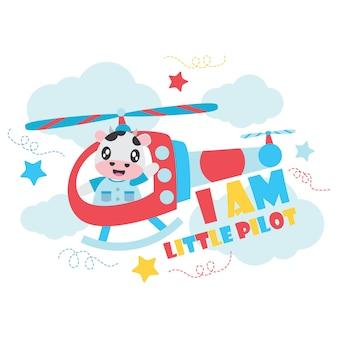 Mucca sveglia come piccolo pilota sul fondo del fumetto dell'elicottero