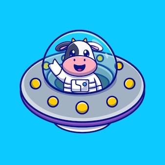 Astronauta carino mucca in ufo cartoon vettore icona illustrazione. concetto di icona di scienza animale isolato vettore premium. stile cartone animato piatto
