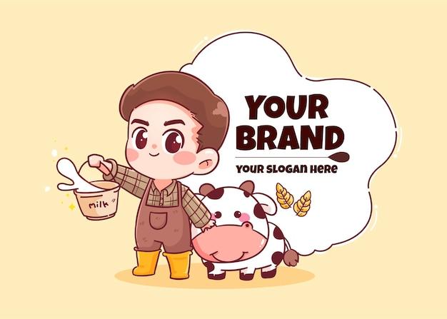 Ragazzo carino mucca che tiene un secchio di latte logo disegnato a mano arte del fumetto illustrazione