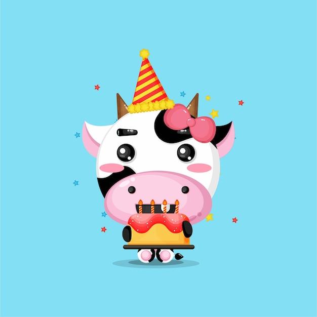 La mucca carina porta la torta di compleanno