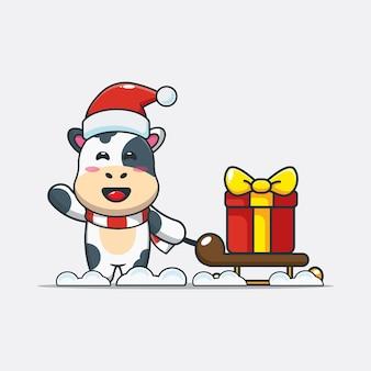 Simpatico cartone animato di mucca che trasporta scatola regalo di natale illustrazione di cartone animato carino natale