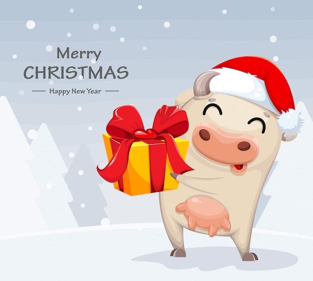 Simpatico personaggio dei cartoni animati di mucca azienda confezione regalo